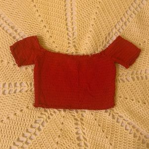 Red smocked crop top